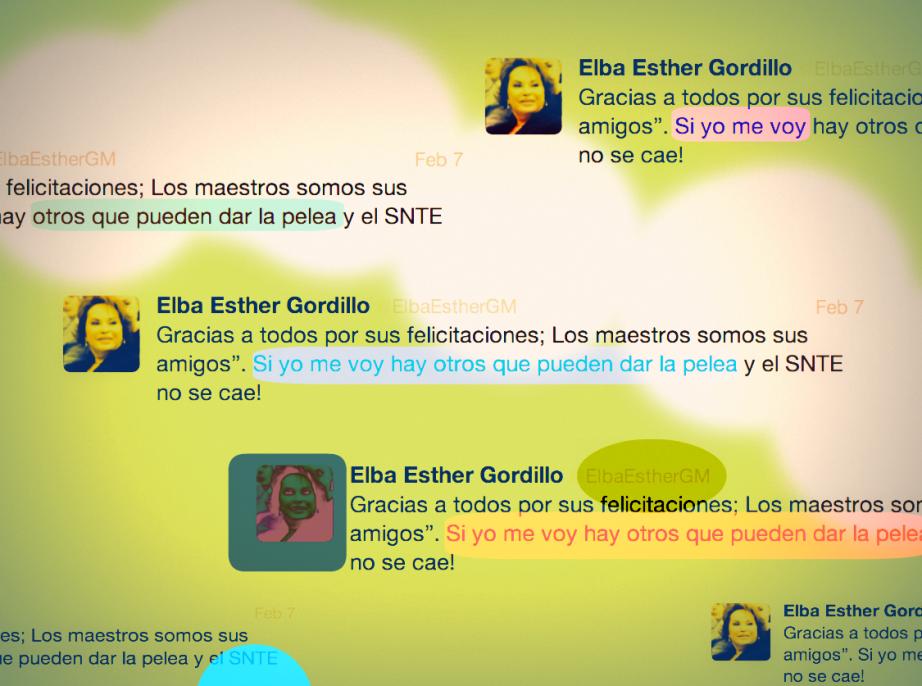 El último tuit enviado por Elba Esther Gordillo antes de ser detenida. Ilustración: @EduPortas