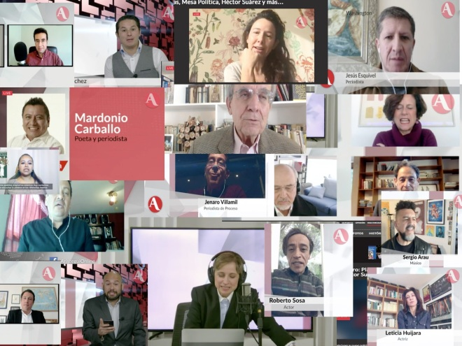 Un collage de la mayoría de las personas que participaron o felicitaron a la periodista en su regreso.
